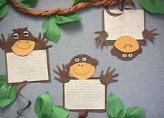MONKEY CRAFT ~ cute way to feature student writing or other work