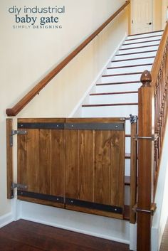 Industrial DIY Baby Gate that is so much prettier then any options you can buy and affordable to make too (sponsored)