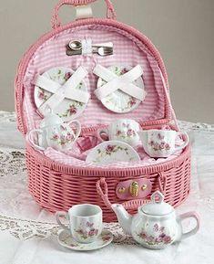Pink Rose Tea Set - In lovely Carry Basket- 3 Left In stock!
