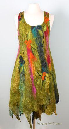 Beverly Ash Gilbert Nuno Felt Art, #nunofelt #nunofeltdress #fiberart #color #beverlyashgilbertart