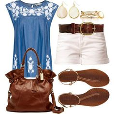 White  Blue with Brown accents...summer