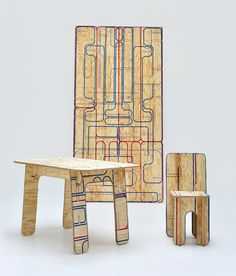 this is a truly inspired idea. it's a sticker one adheres to plywood, follows the pattern and cuts accordingly to assemble the selected piece of furniture on the pattern. fun, because it's DIY and the pattern itself is an interesting print on the plywood. win/win.