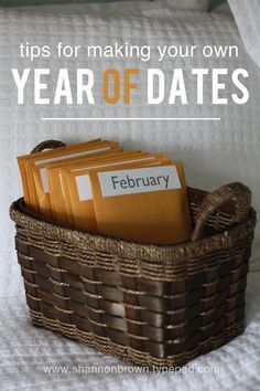 12 pre-planned, pre-paid, dates for the following year. She gives ideas/tips that she used for a Christmas gift for her husband!