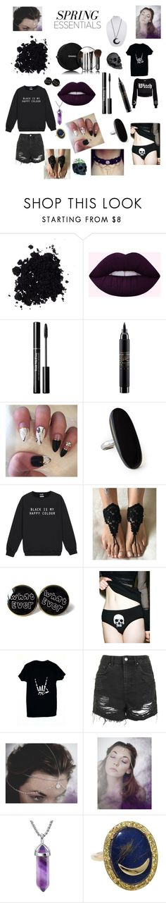 """goth darkness"" by reebee918 ❤ liked on Polyvore featuring beauty, Chanel, MAC Cosmetics, Kale, Killstar, Topshop, Andrea Fohrman and L'Objet"