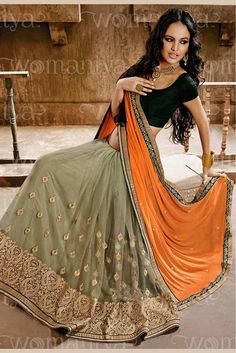 Orange and Grey Colour Chiffon Fabric Designer Saree Comes with matching Blouse. This Saree Is Crafted With Embroidery,Lace Work. This Saree Comes With Unstitched Blouse Which Can Be Stitched Up To Si...