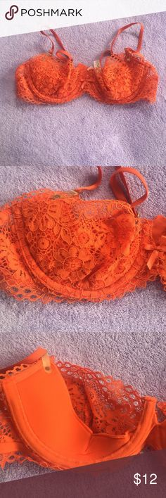 Victoria's Secret lace bra Orange VS  lace bra. Lined on bottom. NWOT Victoria's Secret Intimates & Sleepwear Bras