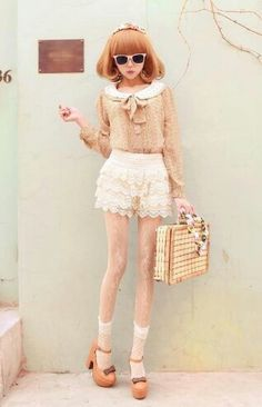 Kawaii fashion with the nude toned sailor inspired blouse with the creme ruffles shorts, nude toned heels with flesh toned girly socks. Gyaru Fashion, Harajuku Fashion, Lolita Fashion, Cute Fashion, Trendy Fashion, Fashion Trends, Fashion Ideas, Pastel Fashion, Fashion Quotes