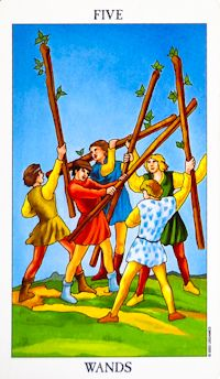 Five of Wands Tarot Card Meanings Keywords    Upright: Disagreement, competition, strife, tension, conflict    Reversed: Conflict avoidance, increased focus on goals
