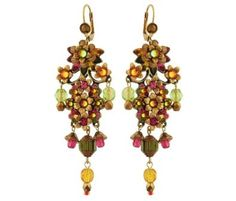 Michal Negrin Dramatic Chandelier Earrings Embellished with Hand Painted Flowers, Dangle Glass Beads, Green, Fuchsia and Yellow Swarovski Crystal: Michal Negrin: Jewelry