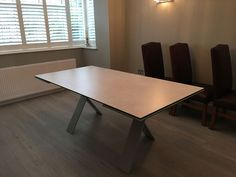 Tables size and fully extended to and wide. Delivered to our client in Surrey. Leather Bed, Table Sizes, Extendable Dining Table, Sofa Design, Modern Bedroom, Contemporary Furniture, Tables, Ceramics, Cabinet