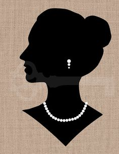 Elegant Woman Silhouette Graphic: Image No.219, image transfer to burlap, linen, fashion, decor, printable artwork