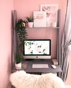 Meu home office Home Office Space, Home Office Design, Home Office Decor, Home Decor, Tiny Home Office, Girl Bedroom Designs, Room Ideas Bedroom, Diy Bedroom Decor, Study Room Decor