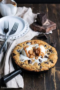 Peanut Butter Chocolate Chip Skillet Cookie