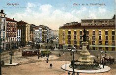 Postal antigua de la Plaza Constitución de ZARAGOZA Plaza, Mansions, House Styles, Vintage Postcards, Antique Photos, Zaragoza, Cities, Fotografia, Manor Houses
