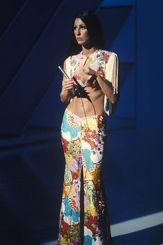 Wowsers trousers (literally as well as figuratively). Before she turned into a Bob Mackie Barbie Doll, Cher was a fearlessly paisley disco waif.