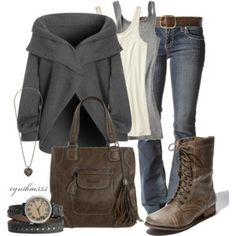 Earthy Comfort - Polyvore: would trade for a sweater or something else instead of that poncho or whatever that is