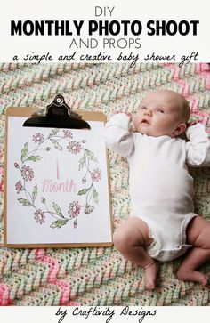 DIY Monthly Baby Photos | Give this as a photo shoot kit for a simple baby shower gift! Baby Shower Gift Idea, Monthly Photo Gift, Baby Photo Ideas | READ MORE: http://craftivitydesigns.com/diy-monthly-baby-photos-baby-shower-gift/