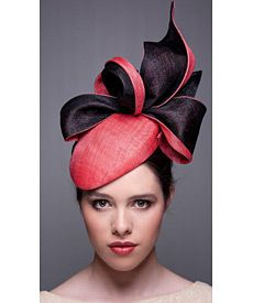 Fashion hat Watermelon and Black LaFayette Beret, a design by Melbourne milliner Louise Macdonald