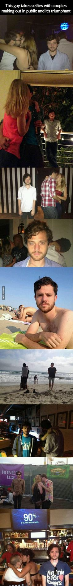 This guy takes pictures of himself next to couples making out in public