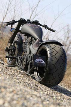 Matte Black Chopper Motorcycle