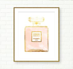 Chanel Coco Mademoiselle Print Gold Foil Print, INSTANT DOWNLOAD by PeachAndGold