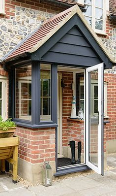 Front porch extension ideasFront porch extension Awesome Oak Front Door So Your House Looks Simple But Awesome Oak Front Door So Your House Looks Simple But Beautiful homedecorideas doordecorations homedesignonabudgetTHIS Is the Right Porch Uk, Front Door Porch, Cottage Porch, Front Porch Design, House With Porch, Door Entry, Side Porch, Porch Entry, Porch On Terraced House