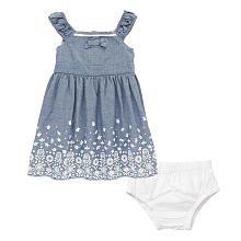 Koala Baby Girls Blue Flower Print Chambray Sleeveless Dress and Diaper Cover