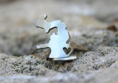 Michigan Love Ring - You can do any state or country, hand sawed in sterling silver with the heart where you love, state pride jewelry by Dreaming Tree Creations