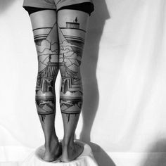 Tattoo artist Houston Patton crafts intricate landscape scenes that span the back of his client's legs. Working under the name Thieves of Tower, he collaborates with artist Dagny Fox who oversees his creative direction and helps make these unique projects happen.