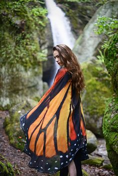 Butterfly wings Monarch cape costume adult Fairy cape chiffon