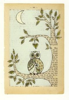 Super old tree painting book pages 60 Ideas Old Book Art, Old Book Pages, Art Altéré, Owl Art, Book Page Crafts, Book Page Art, Journal D'art, Art Journal Pages, Art Journals