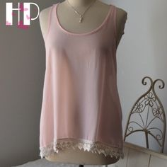 "Light Pink Sheer Lace Hem Lace Racerback Camisole HP: 8/28/16 So Long Summer Party 🎉🎉I admire the sheer eloquence of such a pale pink. Classy for such a simple top. It 26""long. Sheer as you see in pic 4. Lovely lace hem at bottom. Paper Denim & Cloth Tops Camisoles"