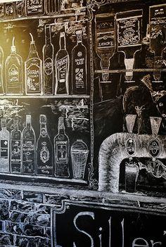 blackboard, chalkboard, chalk art, bar