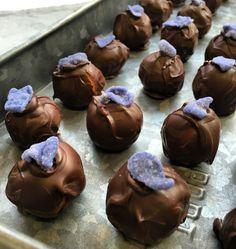 Cocoa meraki Marzipan and violet dark chocolate truffle