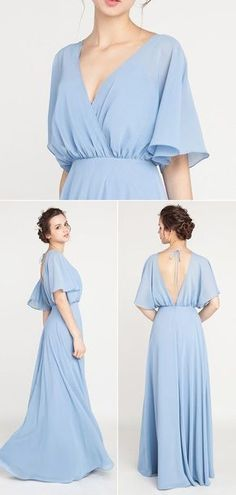 V-Neck Sleeved Long Bridesmaid Dress with Open Back TBQP385 #Bridesmaiddressideas
