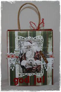Gunns Papirpyssel, gift bag, gave pose, jul, christmas, scrapping, scrapbooking, paper, papir