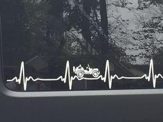JEEP WRANGLER Heart Beat EKG  Pick Your Color STICKER Decal  Heartbeat JK TJ CJ #Jeep