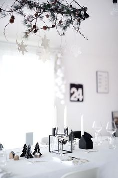 black and white Christmas table setting