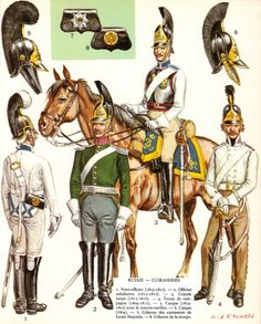 Russian cuirassiers.  Later helmets have tufted crests, replacing the earlier sausage plume crest.