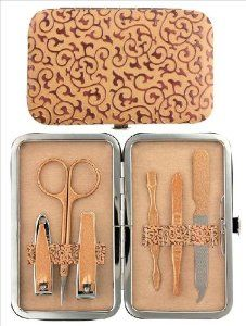 Soft Touch Gold Scroll 6 Piece Manicure Set by Manual. $12.99. soft touch cushioned case. Set Includes nail file, tweezers, cuticle tool, scissors and 2 styles of clippers. SOFT TOUCH GOLD SCROLL MANICURE Set Portable personal manicure set is handy for life's everyday needs  Measures 4.65-inch long by 2.8-inch wide  Gold Scroll soft touch cushioned case has hinged closure and comes with an assortment of design coordinated manicure tools  Set Includes nail file, t... Manicure Set, Manicure Tools, Nail Tools, Nail Scissors, Grooming Kit, Nail File, Beauty Nails, Hair Style, Accessories
