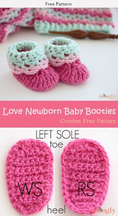 Love Newborn Baby Booties Crochet Free Pattern #Crochet #Booties #Freepattern