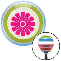 Pink Hawaiian Flower 1 Stripe Shift Knob with M16 x 15 Insert