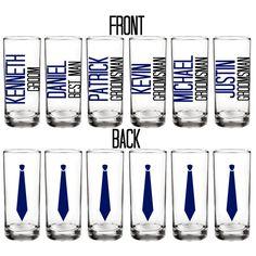 set of six - Groom - Best Man - Groomsman - Personalized shot glasses - Batchelor Party