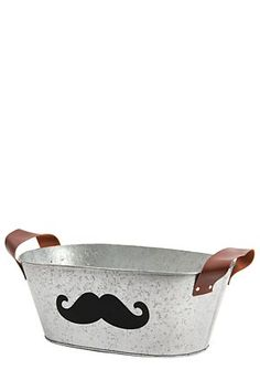 """Fun and functional, this tin storage container with handles and a moustache shaped chalk board is perfect for your home. Available in small and medium.<div class=""""pdpDescContent""""><BR /><b class=""""pdpDesc"""">Dimensions:</b><BR />L40xW24.5xH16 cm</div> Storage Containers, Chalkboard, Tin, Moustache, Medium, Detail, Storage Bins, Mustache, Pewter"""