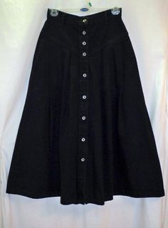 Sundance Black Denim Button Front High Waisted Vtg Western Skirt Pockets Sz 5/6 #Sundance #FullSkirt #Western