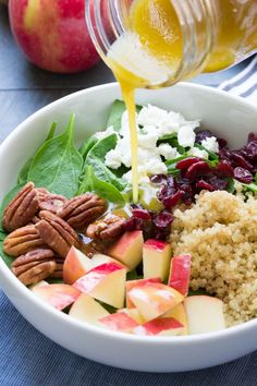This Spinach and Quinoa Salad with Apple and Pecans is a healthy fall salad. We like to eat it as a light lunch or side dish with dinner!