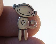 Sterling Sock Monkey Necklace by marmar on Etsy