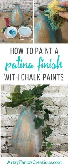How to paint an authentic patina finish with chalk paints | Painting Tips by Cheryl Phan | Painted Home Decor Ideas + Patina DIY | Aged Metal
