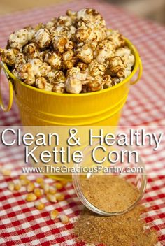 Clean Eating Kettle Corn  (Makes 4 servings)  Ingredients  2 tsp. coconut oil  1/4 cup un-popped popcorn  2 tbsp. coconut sugar  1/2 tsp. pumpkin pie spice (optional)