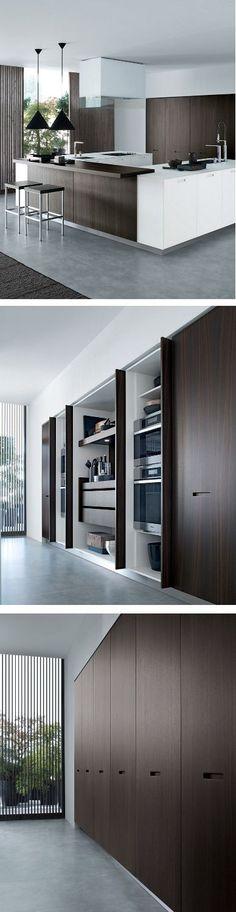 Lacquered linear wooden #kitchen KYTON - @poliformvarenna